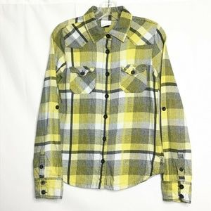 O'neill Flannel Shirt Yellow Black Plaid Button